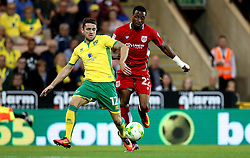 Jonathan Kodjia of Bristol City challenges Robbie Brady of Norwich City - Mandatory by-line: Robbie Stephenson/JMP - 16/08/2016 - FOOTBALL - Carrow Road - Norwich, England - Norwich City v Bristol City - Sky Bet Championship