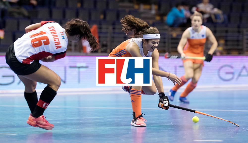 BERLIN - Indoor Hockey World Cup<br /> Women: Poland - Netherlands<br /> foto: Noor de Baat.<br /> WORLDSPORTPICS COPYRIGHT FRANK UIJLENBROEK