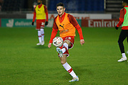 Jake Hastie warms up before the The FA Cup match between Solihull Moors and Rotherham United at the Automated Technology Group Stadium, Solihull, United Kingdom on 2 December 2019.