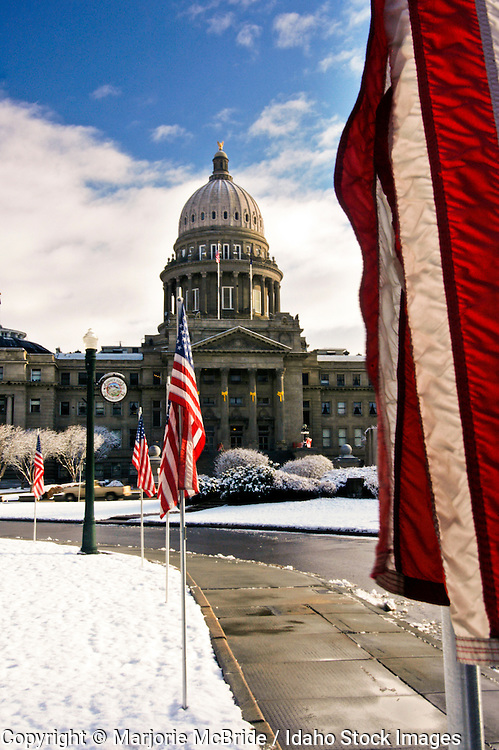 Idaho, Boise.  The Idaho State Capitol with flags flying on a winter morning.
