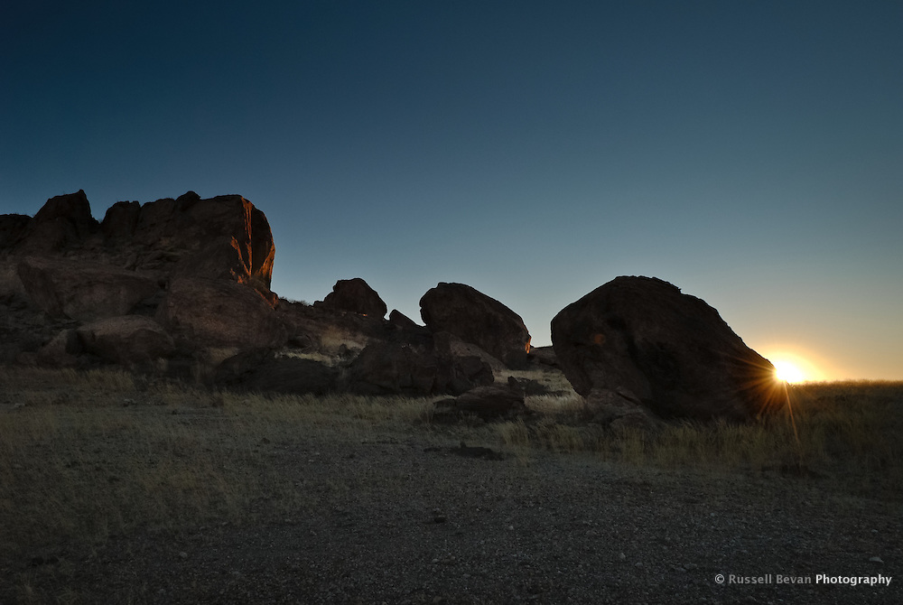 Large Rocks at Sunrise, Mirabib, Namibia