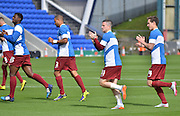 Billy Knott (11) leads leads the applause for the traveling fans before the Sky Bet League 1 match between Oldham Athletic and Bradford City at Boundary Park, Oldham, England on 5 September 2015. Photo by Mark Pollitt.