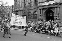 Striking miners from Cortonwood join the Lord Mayor's Parade in Sheffield to thank the people of the City for their support. 1984-85 miner's strike  02/06/1984.