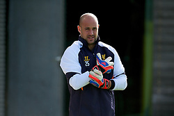 LIVERPOOL, ENGLAND - Wednesday, October 3, 2012: Liverpool's goalkeeper Jose Reina during a training session at Melwood Training Ground ahead of the UEFA Europa League Group A match against Udinese Calcio. (Pic by David Rawcliffe/Propaganda)