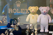 Teddy-Summer2005 in Zurich, Switzerland. .Rolex bears at a jeweller, Bahnhofstrasse..After the success of the summer events in recent years - the cows in 1998 and benches in 2001, the city of Zurich is continuing the tradition this year with «Teddy Summer 2005». From May 23rd until September 18th around 630 teddies - small, large, in groups, sitting or standing and creatively decorated by various artists will make their mark on the city of Zurich and the airport Zurich-Kloten. With the choice of the teddy bear as subject for this years project, they have found a symbol recognized and loved by young and old. Although he's over 100 years old, Teddy moves with the times and his cuddly figure continues to capture the hearts of people the world over.