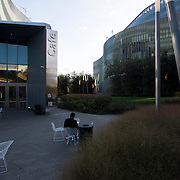 October 4, 2016 - New York, N.Y. : A man sits outside the cafe at the CUNY Advanced Science Research Center, left, and the City College Center for Discovery and Innovation, right, at the City College of New York on Tuesday afternoon, October 4. <br /> CREDIT: Karsten Moran for The New York Times