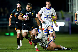 Ollie Lawrence of Worcester Warriors is tackled - Mandatory by-line: Robbie Stephenson/JMP - 17/01/2020 - RUGBY - Sixways Stadium - Worcester, England - Worcester Warriors v Castres Olympique - European Rugby Challenge Cup