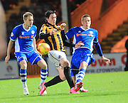 Louis Dodds, Jim McNulty, Ollie Lancashire during the Sky Bet League 1 match between Rochdale and Port Vale at Spotland, Rochdale, England on 28 November 2015. Photo by Daniel Youngs.