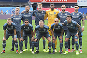 NYCFC players pose for a team photo before a MLS soccer game, Saturday, Sept. 14, 2019, in New York. New York City FC defeated San Jose Earthquakes 2-1. (Errol Anderson/Image of Sport)