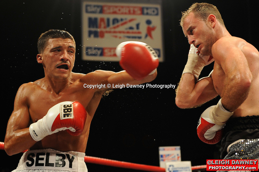 Lee Selby (white shorts) defeats Ben Jones at the Brentwood Centre on 25th June 2010.Frank Maloney Promotions. Photo credit: © Leigh Dawney