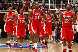 March 21, 2011; Stanford, CA, USA; St. John's Red Storm forward/center Zakiyyah Shahid-Martin (21) leads her team off the court after warm ups before the start of the second round of the 2011 NCAA women's basketball tournament against the Stanford Cardinal at Maples Pavilion.