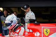 October 8-11, 2015: Russian GP 2015: Lewis Hamilton (GBR), Mercedes looks at Vettel's Ferrari after qualifying.