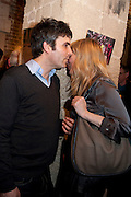 SHMULIK KAUFMANN; MURIEL D'ANSEMB, The launch party of HiBrow and A Mighty Big If. ÊThe Crypt. St. Martins in the Fields. London. 24 January 2012<br /> SHMULIK KAUFMANN; MURIEL D'ANSEMB, The launch party of HiBrow and A Mighty Big If.  The Crypt. St. Martins in the Fields. London. 24 January 2012
