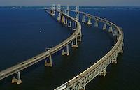 Aerial view of the Chesapeake Bay Bridge