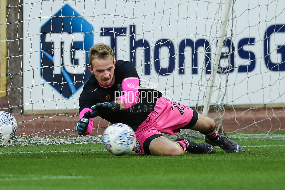Forest Green Rovers goalkeeper Lewis Thomas(24) warming up during the EFL Sky Bet League 2 match between Carlisle United and Forest Green Rovers at Brunton Park, Carlisle, England on 17 September 2019.