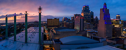 Downtown Kansas City, Missouri - Convention Center and skyline panorama photo at dusk.