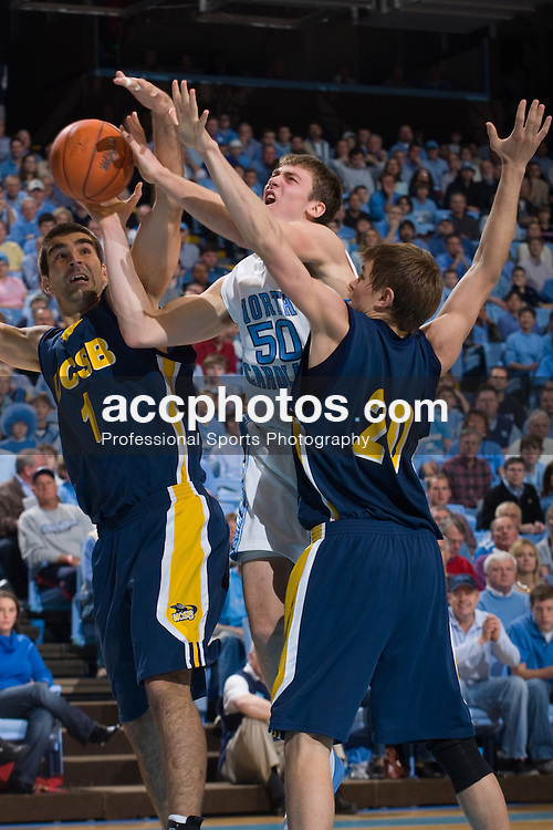 22 December 2007: North Carolina Tar Heels forward Tyler Hansbrough (50) during a 105-70 win over the University of California Santa Barbara Gauchos at the Dean Smith Center in Chapel Hill, NC.