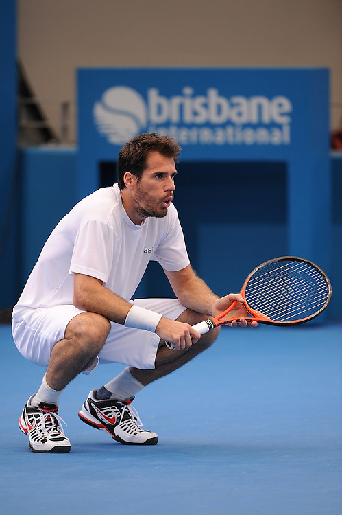Brisbane, Australia, December 30: Tommy Haas of Germany watches on during a training session at Pat Rafter Arena ahead of the 2012 Brisbane International Tennis Tournament in Brisbane, Australia on Friday December 30th, 2011. (Photo: Matt Roberts/Photo News)
