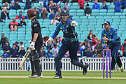 Sam Billings wicketkeeper (Kent) celebrates a wicket during the Royal London 1 Day Cup match between Surrey County Cricket Club and Kent County Cricket Club at the Kia Oval, Kennington, United Kingdom on 12 May 2017. Photo by Jon Bromley.