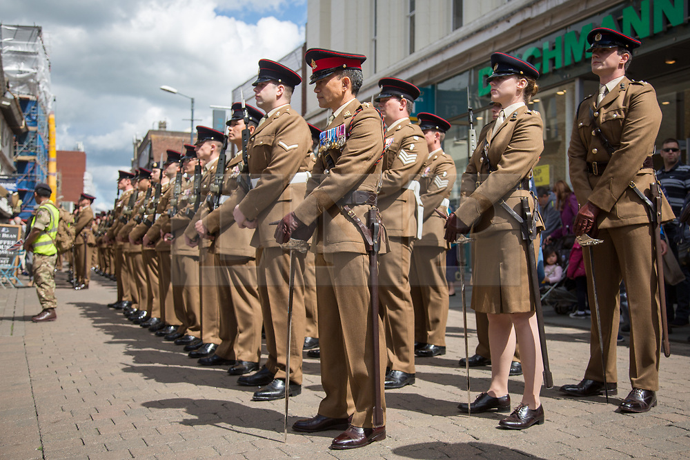 @Licensed to London News Pictures 20/05/17. Maidstone, Kent. Serving and veteran soldiers from the 36 Engineer Regiment join in the Civic & Freedom Parade today in Maidstone, Kent. They will be accompanied by the Queens Gurkha Engineers and the Band of the Brigade of Gurkhas. Photo credit: Manu Palomeque/LNP