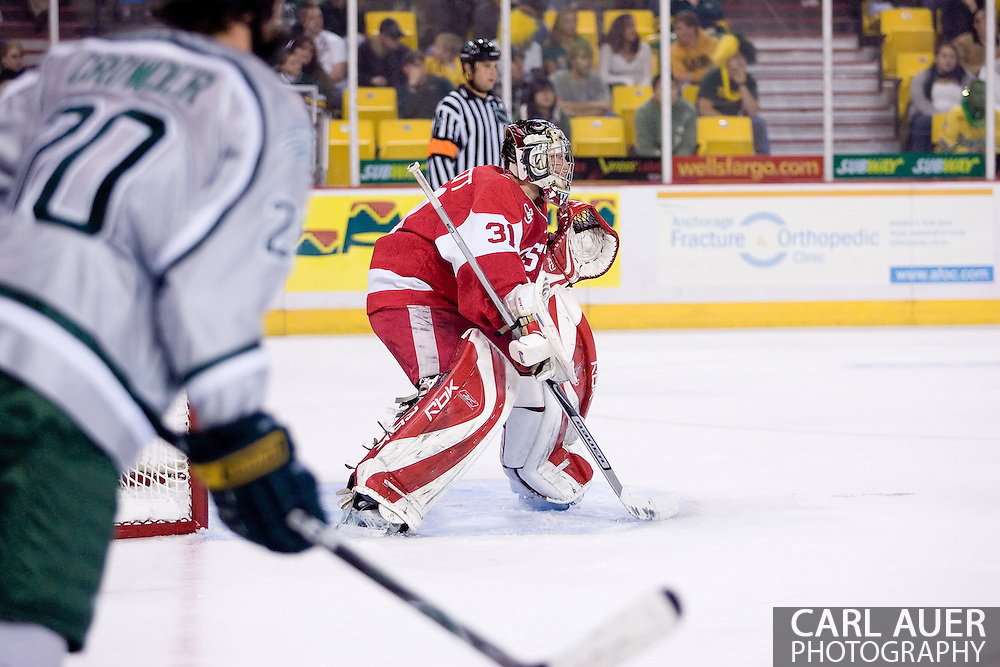 October 13, 2007 - Anchorage, Alaska:  Brett Bennett (31) of the Boston University Terriers during game 4 of the Nye Frontier Classic at the Sullivan Arena.  UAA and BU would tie 4-4 giving Robert Morris University the title of Nye Frontier Classic Champion.