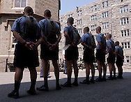 West Point, New York - New cadet line up to learn basic marching skills during Reception Day at the United States Military Academy at West Point on July 2, 2014. About 1,200 cadet candidates, the West Point Class of 2018, reported to the academy to begin their military careers by getting lessons in marching, military courtesy and discipline.