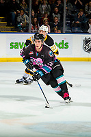 KELOWNA, BC - NOVEMBER 03:  Liam Kindree #26 of the Kelowna Rockets skates with the puck against the Brandon Wheat Kings at Prospera Place on November 3, 2018 in Kelowna, Canada. (Photo by Marissa Baecker/Getty Images) ***Local Caption***Liam Kindree;
