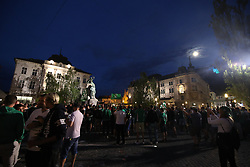 Players of Olimpija celebrate with a trophy after they became Slovenian National Champion 2018 after the football match between NK Domzale and NK Olimpija Ljubljana in 36th Round of Prva liga Telekom Slovenije 2017/18, on May 27, 2018 in the City centre of Ljubljana, Slovenia. Photo by Matic Klansek Velej / Sportida