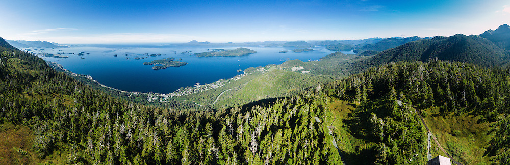 Sitka Sound & Mt. Edgecumbe on Kruzof Island, from Harbor Mountain, Baranof Island, Sitka, Alaska, USA