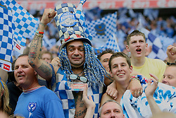LONDON, ENGLAND - Saturday, May 17, 2008: Portsmouth supporter John Westwood celebrates after his side won the FA Cup beating Cardiff City 1-0 during the FA Cup Final at Wembley Stadium. (Photo by Chris Ratcliffe/Propaganda)