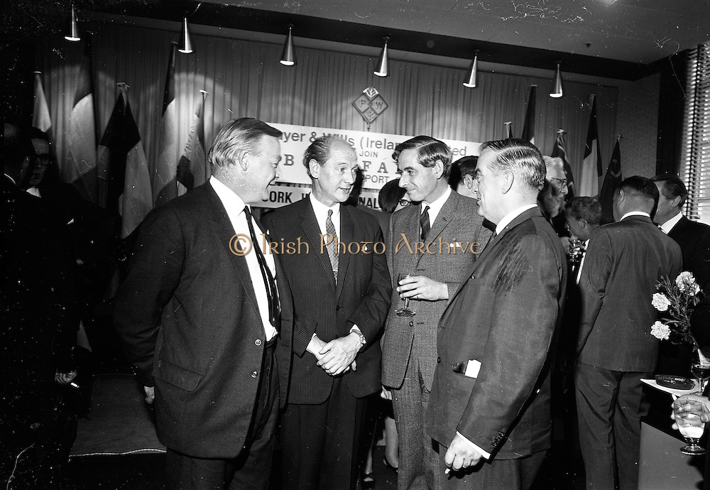 17/08/1967<br /> 08/17/1967<br /> 17 August 1967<br /> Player and Wills (Ireland) Ltd. give development grant to Cork Film Festival at Player and Wills headquarters, South Circular Road, Dublin. Picture shows Taoiseach Jack Lynch, (2nd from left), chatting with Mr Frank O'Reilly (3rd from left) Chairman, Player and Wills (Ireland) Ltd.; Mr. A. Buttanshaw, (left) Managing Director, Player and Wills (Ireland) Ltd. and Mr Dermot Breen, Director, Cork Film Festival.