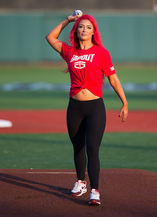 WWE Wrestler, Eva Marie, throws out the first pitch before a New York Penn League game against the Lowell Spinners on August 19, 2015 at MCU Park in Coney Island, Brooklyn, NY. (Dustin Satloff / Brooklyn Cyclones)