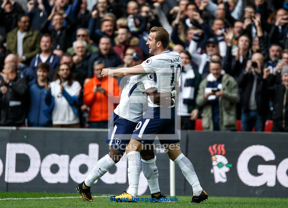 Harry Kane of Tottenham Hotspur celebrates his goal during the Premier League match at Wembley Stadium, London<br /> Picture by Liam McAvoy/Focus Images Ltd 07413 543156<br /> 22/10/2017