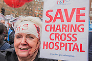 Supporters of the Charing cross Hospital which faces closure - A march against cuts to and potential privatisation of the NHS starts in Tavistock Square and heads for Parliament Square. The march was organised by the peoples assembly and supported by most major unions and the Labour Party.