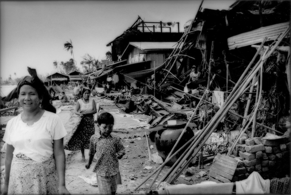 Riverfront market in Pyapon that was torn apart by Cyclone Nargis in the Irrawaddy River Delta, Burma (Myanmar).
