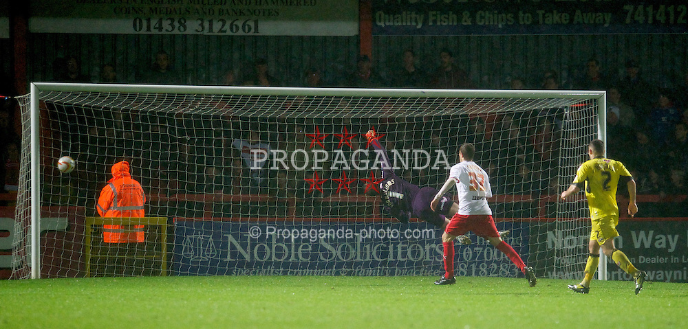 STEVENAGE, ENGLAND - Saturday, November 24, 2012: Tranmere Rovers' goalkeeper Owain Fon Williams is beaten for an equalising goal in injury time against Stevenage during the Football League One match at Broadhall Way. (Pic by David Rawcliffe/Propaganda)