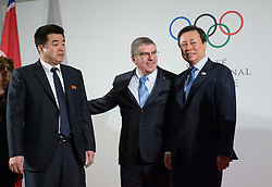 LAUSANNE, Jan. 20, 2018  International Olympic Committee (IOC) President Thomas Bach (C), poses with Kim Il Guk (L), the president of the National Olympic Committee (NOC) of the Democratic People's Republic of Korea (DPRK) and Do Jong-hwan (R), minister of Culture, Sports and Tourism of South Korea in Lausanne, Switzerland, on Jan. 20, 2018. (Credit Image: © Xu Jinquan/Xinhua via ZUMA Wire)