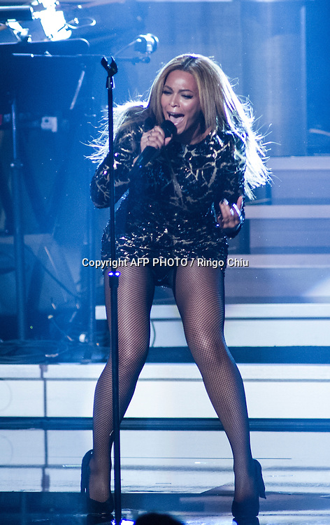Beyonce performs during a concert, Stevie Wonder: Songs In The Key Of Life - An All-Star GRAMMY Salute, at Nokia Theatre L.A. Live on February 10, 2015 in Los Angeles, California. AFP PHOTO / Ringo Chiu