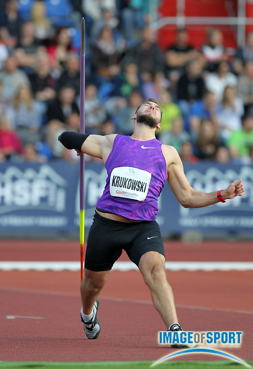 Marcin Krukowski (POL) finishes third in the javelin at 278-0 (84.74m) during the 55th Ostrava Golden Spike track and field meeting in a IAAF World Challenge event at Mastsky Stadium in Ostrava, Czech Republic, Friday, May 20, 2016. Photo by Jiro Mochizuki