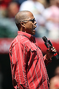 ANAHEIM, CA - MAY 4:  Singer Robbie Britt sings the National Anthem before the Los Angeles Angels of Anaheim game against the Texas Rangers at Angel Stadium on Sunday, May 4, 2014 in Anaheim, California. The Rangers won the game 14-3. (Photo by Paul Spinelli/MLB Photos via Getty Images) *** Local Caption *** Robbie Britt