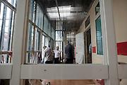 Dei trattenuti durante l'ora d'aria CIE di Gradisca, all'interno dello spazio a loro concesso.<br /> Gradisca d'Isonzo (GO) ,10 settembre 2013. Daniele Stefanini / OneShot
