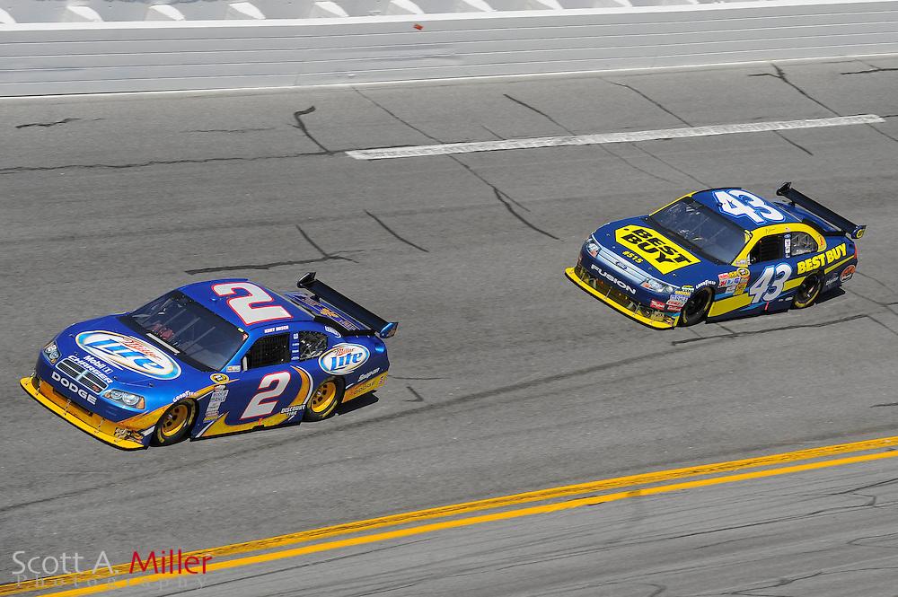 Feb. 14, 2010; Daytona Beach, FL, USA; NASCAR Sprint Cup Series driver Kurt Busch (2) and A.J. Allmendinger (43) during the Daytona 500 at Daytona International Speedway. ©2010 Scott A. Miller