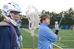05 November 2007: North Carolina Tar Heels men's lacrosse Emmit Kellar and assistant coach Pat Olmert in a practice on Navy Field in Chapel Hill, NC.
