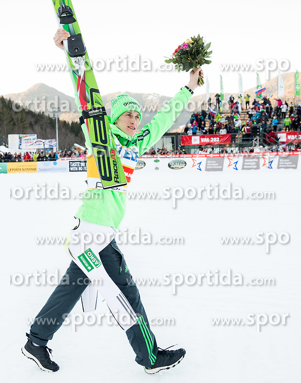 Second placed Peter Prevc (SLO) celebrates after trophy ceremony after the Ski Flying Hill Individual Competition at Day 2 of FIS Ski Jumping World Cup Final 2016, on March 18, 2016 in Planica, Slovenia. Photo by Vid Ponikvar / Sportida