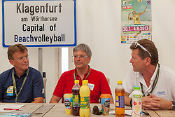 04.08.2013, Klagenfurt, Strandbad, AUT, A1 Beachvolleyball EM 2013, im Bild v.l.n.r.  Hannes Jagerhofer, Landeshauptmann von Kärnten Dr. Peter Kaiser und Sportlandesrat Dr,. Wolfgang Waldner // during the A1 Beachvolleyball European Championship at the Strandbad Klagenfurt, Austria on 2013/08/04. EXPA Pictures © 2013, EXPA Pictures © 2013, PhotoCredit: EXPA/ Mag. Gert Steinthaler