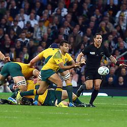 LONDON, ENGLAND - OCTOBER 31: Will Genia of Australia during the Rugby World Cup Final match between New Zealand vs Australia Final, Twickenham, London on October 31, 2015 in London, England. (Photo by Steve Haag)