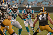 Carolina Panthers running back Jordan Scarlett (20) carries the ball against the Pittsburgh Steelers during a NFL football game, Thursday, Aug. 29, 2019, in Charlotte, N.C. The Panthers defeated the Steelers 25-19.  (Brian Villanueva/Image of Sport)
