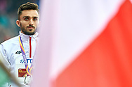 Great Britain, London - 2017 August 09: Adam Kszczot (RKS Lodz) of Poland celebrates his silver medal in men's 800 meters while awarding ceremony during IAAF World Championships London 2017 Day 6 at London Stadium on August 09, 2017 in London, Great Britain.<br /> <br /> Mandatory credit:<br /> Photo by © Adam Nurkiewicz<br /> <br /> Adam Nurkiewicz declares that he has no rights to the image of people at the photographs of his authorship.<br /> <br /> Picture also available in RAW (NEF) or TIFF format on special request.<br /> <br /> Any editorial, commercial or promotional use requires written permission from the author of image.