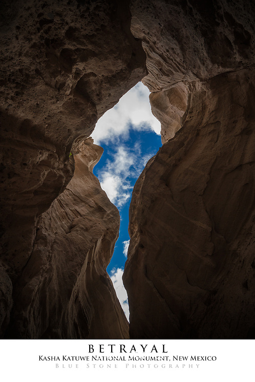 20x30 poster print of blue sky and clouds from inside slot canyon.