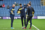 Oxford Oxford United Goalkeeper, Simon Eastwood (1) and Oxford United Goalkeeper, Scott Shearer (13) have a joke and laugh before kick off during the EFL Sky Bet League 1 match between Oxford United and Bristol Rovers at the Kassam Stadium, Oxford, England on 10 February 2018. Picture by Adam Rivers.